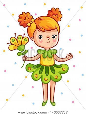 Cute young girl holding a beautiful yellow flower. The girl in a green dress on a white background. Vector illustration in cartoon style.
