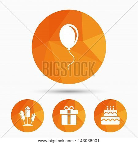 Birthday party icons. Cake and gift box signs. Air balloons and fireworks rockets symbol. Triangular low poly buttons with shadow. Vector