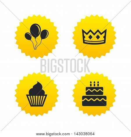 Birthday crown party icons. Cake and cupcake signs. Air balloons with rope symbol. Yellow stars labels with flat icons. Vector