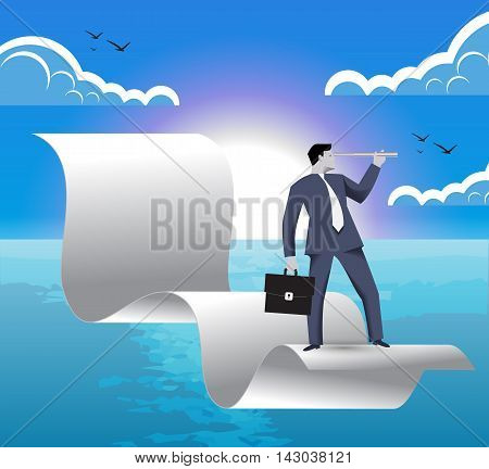 Contract signed business concept. Confident businessman with looking glass and business case flying on signed contract over beautiful ocean landscape. Symbol of new challenges and opportunities.