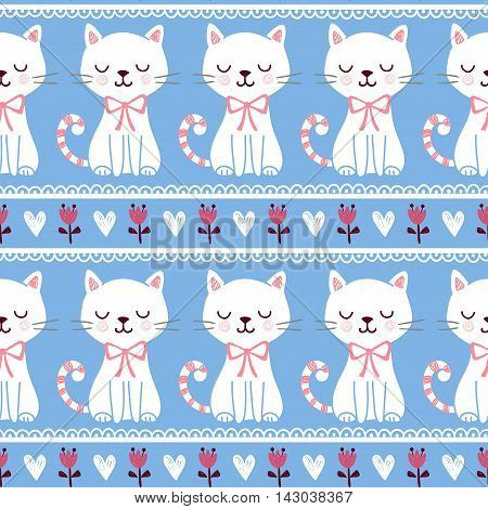Cute vector illustration of seamless with cats who squinted. The pattern of the animals and flowers. The picture with the cats on a blue background.