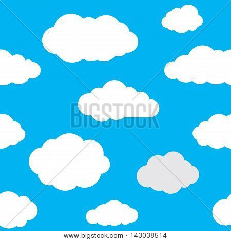 Clouds seamless pattern. Vivid blue background with white sky cloudlets. Simple vector repeating texture in eps8 format.