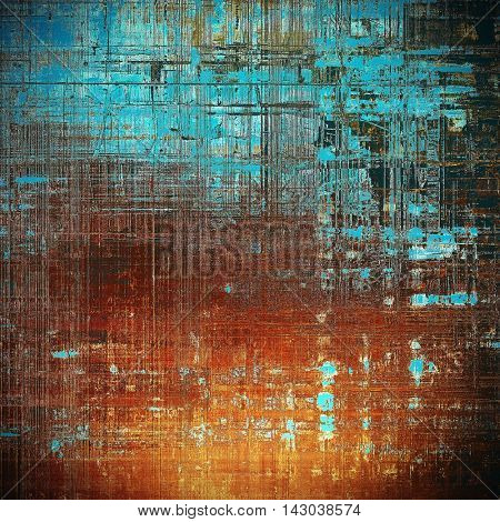 Abstract scratched background or frame with weathered grunge texture. Ancient style backdrop with different color patterns: yellow (beige); brown; black; blue; red (orange); cyan