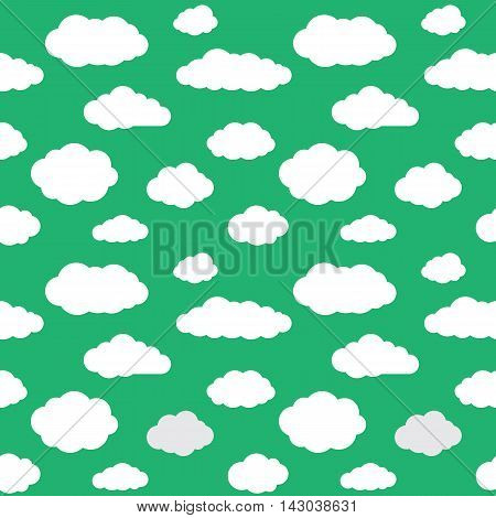 Clouds seamless pattern. Vivid green background with white sky cloudlets. Simple vector repeating texture in eps8 format.