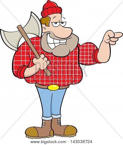 Cartoon illustration of a happy lumberjack pointing.