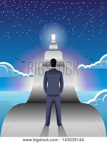 Long road ahead business concept. Young confident businessman stands in front of long road with shining door at the end of it. Concept of career growth and corporate success.