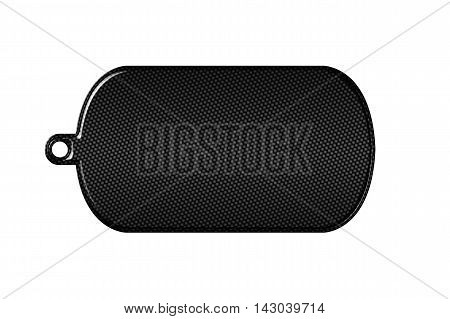 black carbon fiber dog tag on isolated white background. 3d illustration.