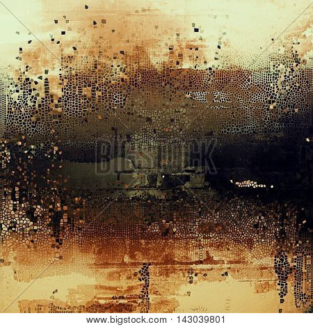 Vintage texture or antique background with grunge decorative elements and different color patterns: yellow (beige); brown; black; purple (violet); gray