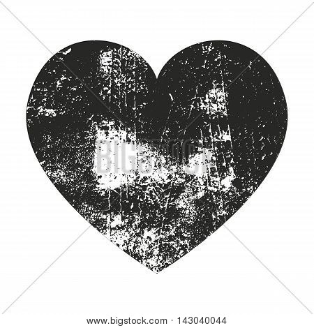 Grunge heart silhouette vector illustration. Rubber Stamp Texture .