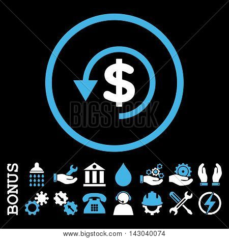 Chargeback glyph bicolor icon. Image style is a flat pictogram symbol inside a circle, blue and white colors, black background. Bonus images are included.