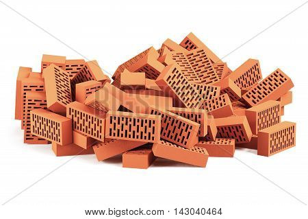 Construction bricks isolated on white background. 3D rendering