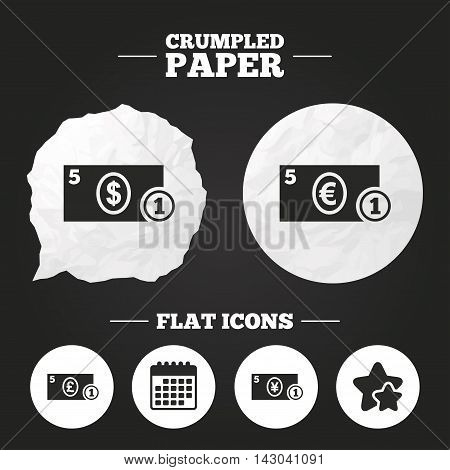 Crumpled paper speech bubble. Businessman case icons. Dollar, yen, euro and pound currency sign symbols. Paper button. Vector