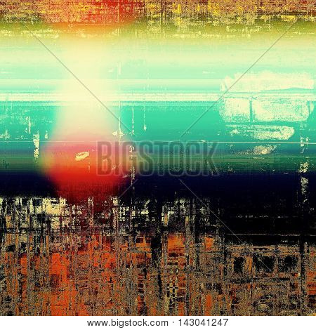 Vintage elegant background, creased grunge backdrop with aged texture and different color patterns: yellow (beige); black; green; blue; red (orange); pink