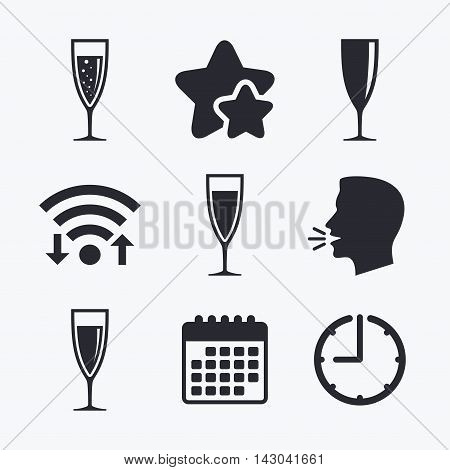 Champagne wine glasses icons. Alcohol drinks sign symbols. Sparkling wine with bubbles. Wifi internet, favorite stars, calendar and clock. Talking head. Vector