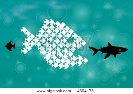 Little Fish Eat Big Fish. Unity, Teamwork, Organize Concept. Together we stand, Fishes unite fight with big fish. vector illustration. Sharks, think different design.