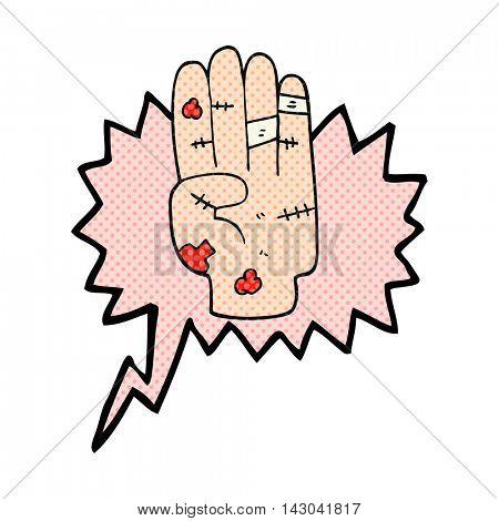 freehand drawn comic book speech bubble cartoon injured hand