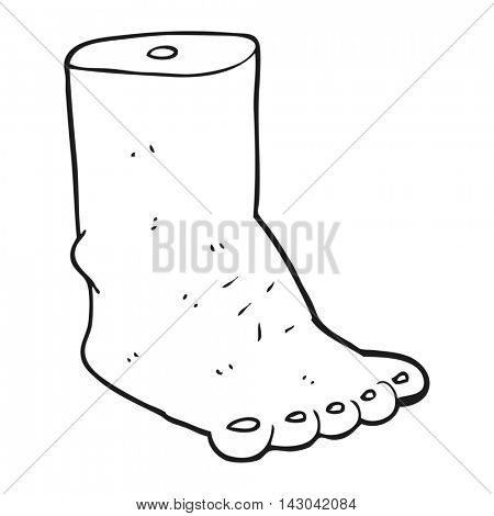 freehand drawn black and white cartoon foot