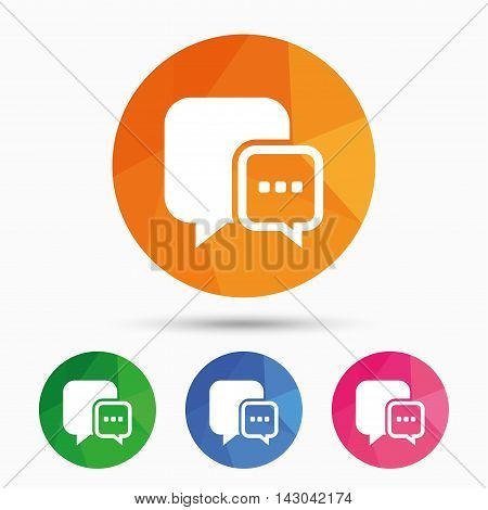 Chat sign icon. Speech bubble with three dots symbol. Communication chat bubble. Triangular low poly button with flat icon. Vector