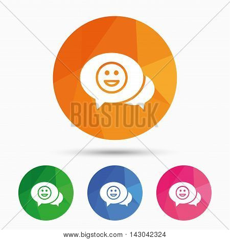 Chat Smile icon. Happy face chat symbol. Triangular low poly button with flat icon. Vector