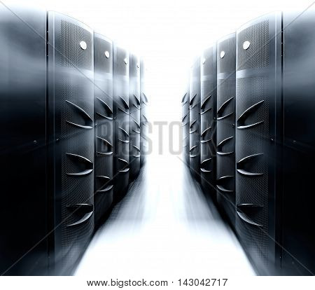 server room with modern mainframe equipment in the data center