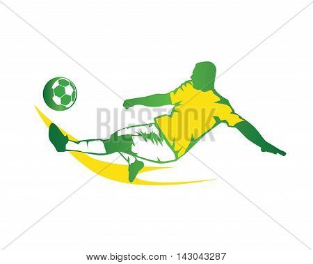 Modern Soccer Player In Action Logo - Green Fast Kick