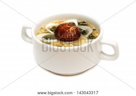 Gourmet food japanese cuisine soup on white