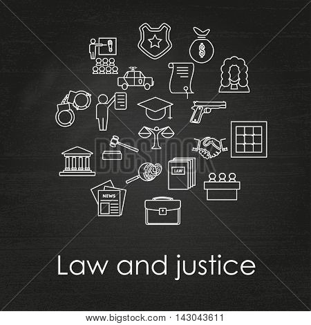 Set of black and white law and justice linear icons on chalkboard background , The legal system, judge, police and lawyer, vector illustration