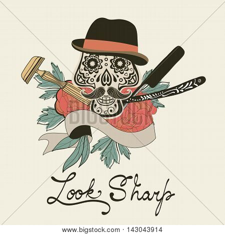 Look sharp. Skull with mustache. Retro style hand drawn graphics for barber shop emblem. Vector illustration