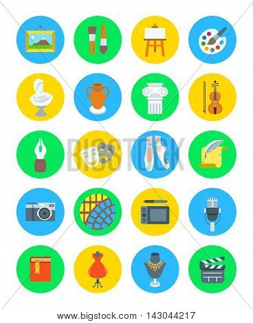 Arts and crafts flat vector round icons set. Colorful symbols of painting, architecture, sculpture, writing, music, ballet, theater, cinema, calligraphy, photography, pottery, jewelry and tailoring