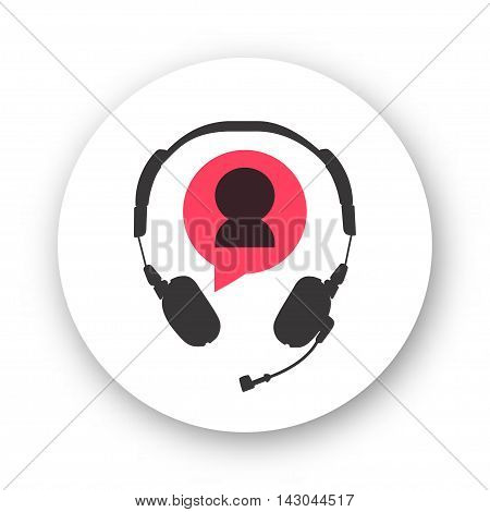 Customer support helpdesk logo symbol, assistant operator phoning badge, hotline communication emblem, abstract headphones, bubble speech, agent user talking, flat icon modern design sign isolated