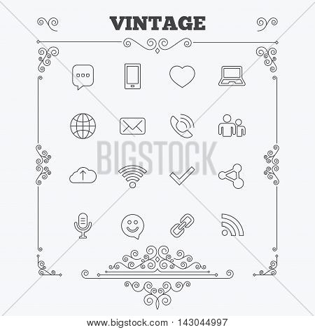 Communication icons. Smartphone, laptop and speech bubble symbols. Wi-fi and Rss. Online love dating, mail and globe thin outline signs. Vintage ornament patterns. Decoration design elements. Vector