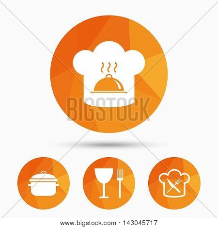 Chief hat and cooking pan icons. Crosswise fork and knife signs. Boil or stew food symbols. Triangular low poly buttons with shadow. Vector
