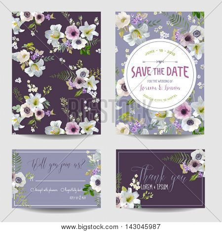 Save the Date Card. Lily and Anemone Flowers. Wedding, Invitation, RSVP Cards. Vector