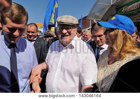 Orel Russia - August 05 2016: Orel city day. Vladimir Zhirinovsky talking to people closeup