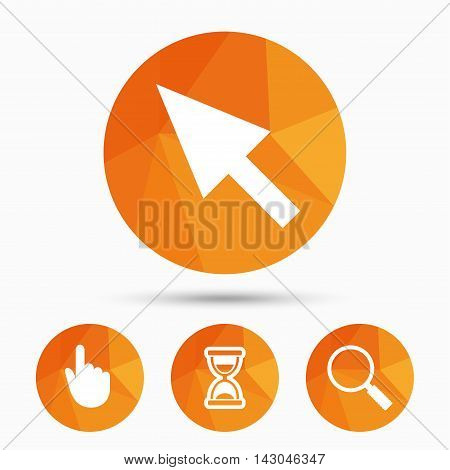 Mouse cursor and hand pointer icons. Hourglass and magnifier glass navigation sign symbols. Triangular low poly buttons with shadow. Vector