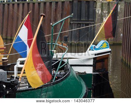 the Harbor of carolinensiel at the german coast