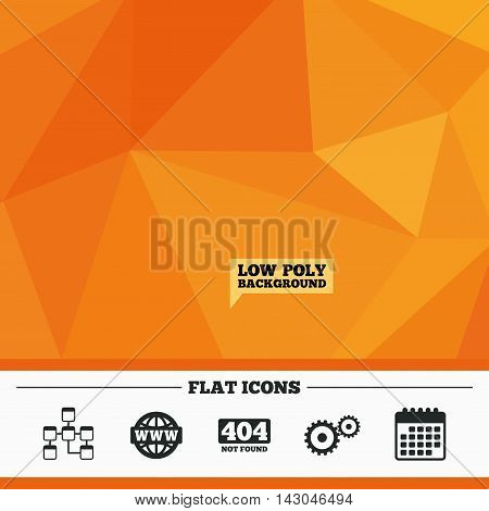 Triangular low poly orange background. Website database icon. Internet globe and gear signs. 404 page not found symbol. Under construction. Calendar flat icon. Vector