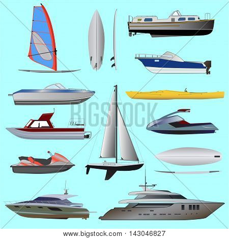 Set of boat. Sailing and motor boats, yacht, jet ski, boat, motor boat, cruise ship, windsurfing. Vector illustrations  isolated on white background.