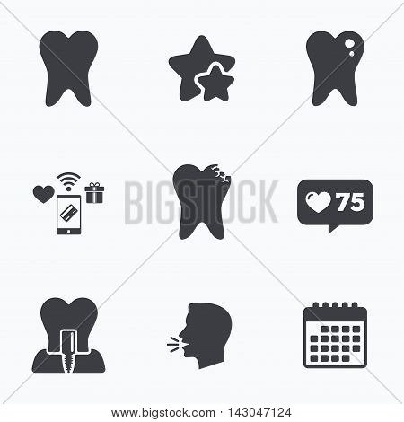Dental care icons. Caries tooth sign. Tooth endosseous implant symbol. Flat talking head, calendar icons. Stars, like counter icons. Vector