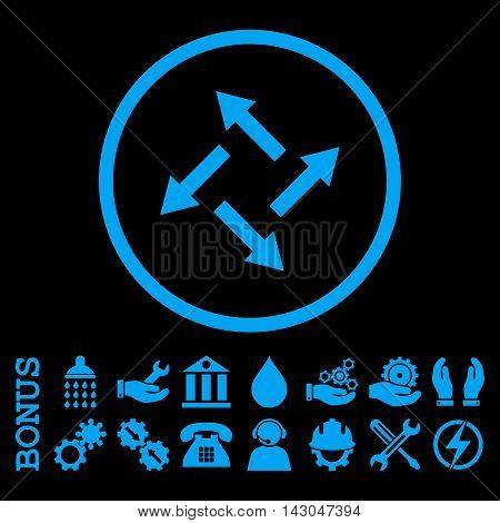 Centrifugal Arrows glyph icon. Image style is a flat pictogram symbol inside a circle, blue color, black background. Bonus images are included.