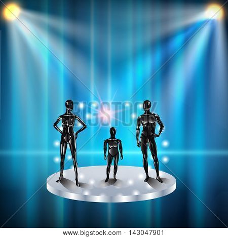 Set of models on a podium with spotlights . Fashion clothing store mannequins, silhouette of man, girl, baby , teenager, pregnant woman