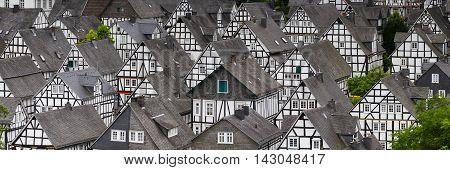 Panorama of studwork houses Freudenberg , Nordrhein Westfalen, Germany