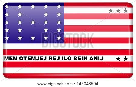 Flags Bikini Atoll In The Form Of A Magnet On Refrigerator With Reflections Light. Vector