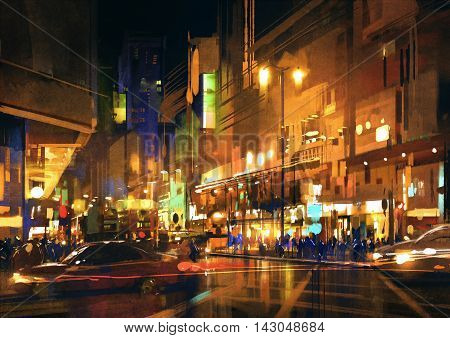 city street at night with colorful lights, illustration, digital painting