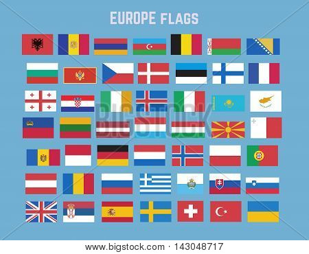 europe continent flag set. Collection of european nation flags. Isolated flat icons vector
