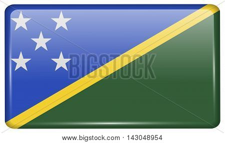 Flags Solomon Islands In The Form Of A Magnet On Refrigerator With Reflections Light. Vector