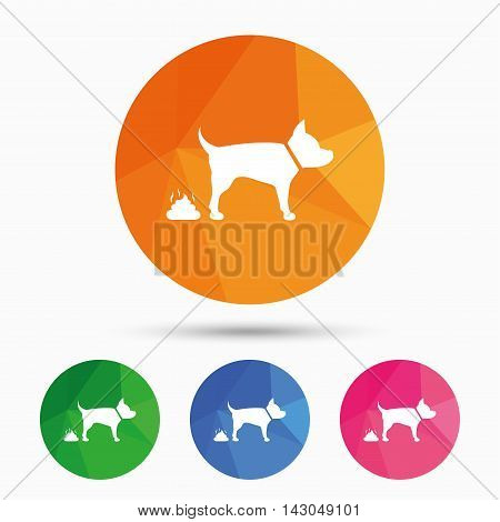 Feces sign icon. Clean up after pets symbol. Put it in the bag. Triangular low poly button with flat icon. Vector