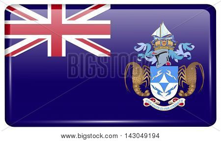Flags Tristan Da Cunha In The Form Of A Magnet On Refrigerator With Reflections Light. Vector