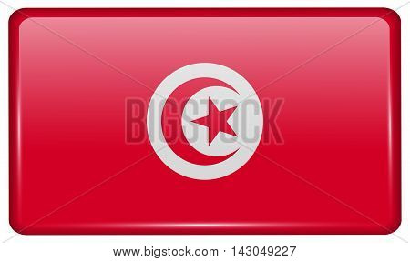 Flags Tunisia In The Form Of A Magnet On Refrigerator With Reflections Light. Vector
