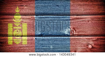Flag of Mongolia painted on old grungy wooden background:  3d illustration